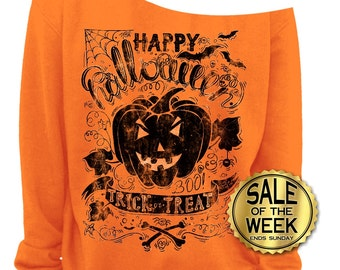 VINTAGE HALLOWEEN SHIRT - Ladies Off The Shoulder Sweatshirt - Halloween Outfit - Trick or Treat - Slouchy Sweatshirt in Orange - s - 3x