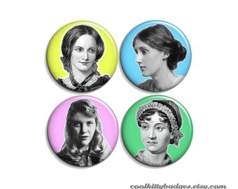 """Ch. Brontë, V. Woolf, S. Plath, J. Austen - pinback badge buttons or magnets 1.5"""""""
