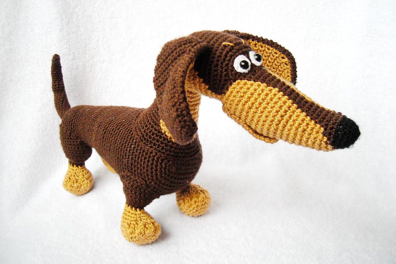 Free Knitting Pattern For Dachshund Dog : Crochet dachshund Brown Amigurumi Dachshund stuffed animal dog