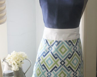 Free Shipping - Blue Diamonds Apron - Country Chic - Farmhouse Style Apron - Vintage Inspired Apron - Country Kitchen Apron - Geometric