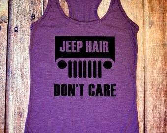 Jeep Tank - Jeep Hair Don't Care - Purple Racerback Tank