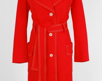 Bright Red Classic Raincoat, Miss T Rainwear, 60s, Collared Button Down Trench Coat, Jacket, Large, White Bear of St. Paul