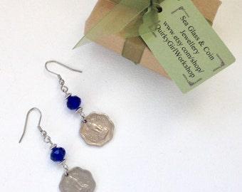 1963 coin earrings, 2 paise coin from India, 53rd birthday gift, Ashok-Stambha (Ashoka's Pillar), coin jewelry, cobalt blue