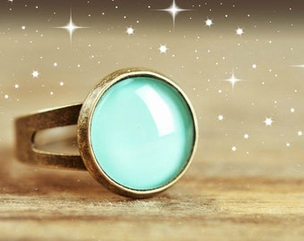 Little mint green ring, adjustable ring, statement ring, antique brass ring, glass dome ring, antique bronze ring, jewelry gift, some magic
