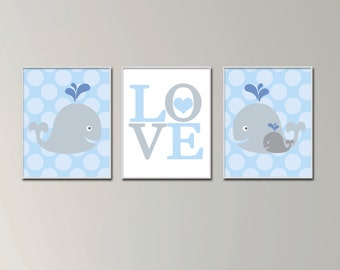 Whale Nursery Wall Art Print, Baby Boy Whale Wall Art, Baby Boys Bedroom Decor-N570,571,572-Unframed
