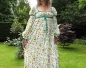 Vintage 1970s Medieval Style Maxi by Quad with Velvet Trim Small