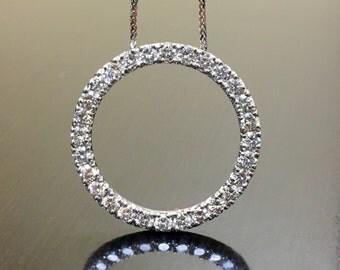 14K White Gold Diamond Necklace - 14K Gold Diamond Circle of Life Necklace - Diamond Eternity Necklace - 14K Diamond Pendant - Gold Necklace