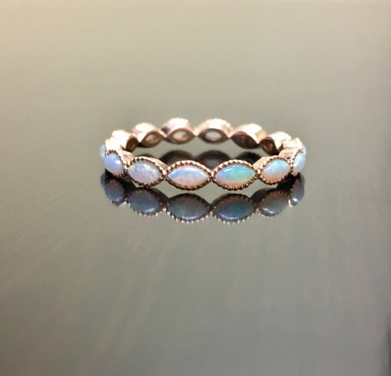 14K Rose Gold Eternity Opal Engagement Band Rose Gold Opal