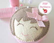 PDF Felt Pin Cushion Pattern - 'Miss Molly' smiling girl, with bow, wool felt, softie, pillow, embroidery, sewing