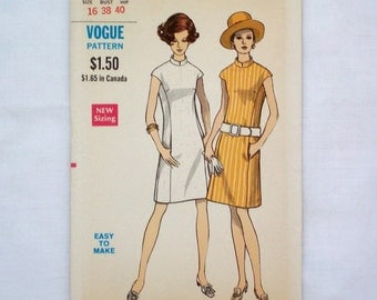 Vintage vogue 7485 sewing pattern size 16 shift dress with mandarin collar uncut 1960s dress pattern