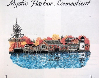 Mystic Harbor, Connecticut Across America Series By Jean Lanning And Art Ventures Vintage Cross Stitch Pattern Pattern Packet 1993