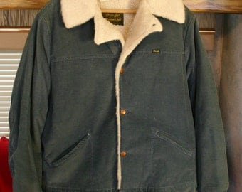 1970s Wrangler Wrange Coat Jacket Lambs Wool Lined Corduroy Steel Blue Gray Fantastic Vintage Condition Size Large.