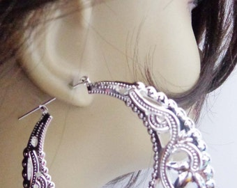LARGE Hoop Earrings Bohemian Puffed Filigree Rhodium Silver tone Hoop Earrings 3 inch Hoops