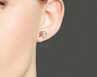 A pairs of 18k Gold Plated Sterling Silver chrysanthemum flower pearl CZ stud earrings