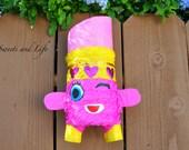 Lipstick Piñata; Mini Piñata; Pink Lipstick Piñata; Lippy Lips Inspired Piñata; Girly Piñata; Party Favors; Shopkins Inspired Mini Pinata