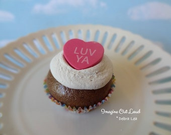 Fake Cupcake Faux Valentine Conversation Heart Candy LUV YA Chocolate  Cake PINK