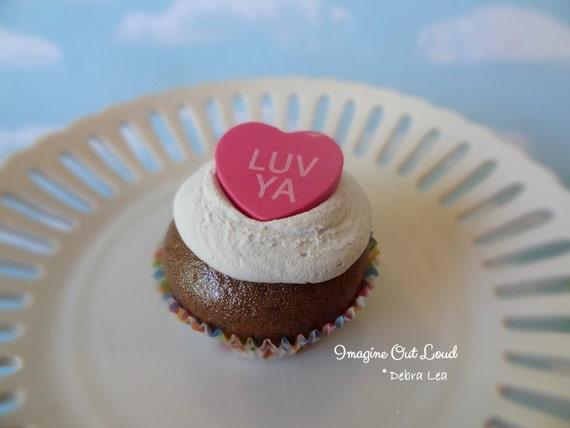 Fake Cupcake Faux Valentine Conversation Heart Candy LUV YA Chocolate  Cake PINK