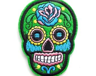 Green Sugar Skull Day of the Dead Iron On Appliqué Patches - 71mm - Rockabilly - Retro - DIY - Dia de los Muertos - Rose