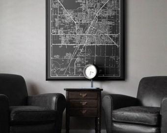 Las Vegas Map : Black and white style vintage Las Vegas map print 1960