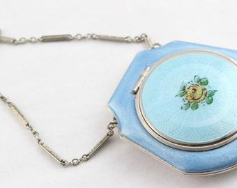 Blue Guilloche Enamel Compact