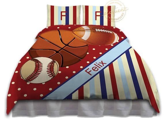 Kids Red Basketball Bedding Baseball Comforter Set Football