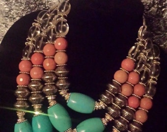 Luxury Rhodonite Multi Strand Necklace Huge Turquoise Magnesite Statement Necklace Dramatic Jewelry Bold Chunky High End Upscale Couture KAT