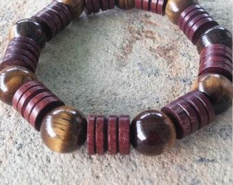 Mens Rich Wood And Tigers Eye Bracelet