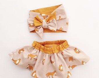 Baby Gift Set, Baby Girl Woodland Fox Head Wrap and Skirt Set, Birthday Outfit,  Newborn - 3T