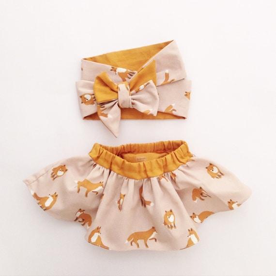 Baby Gift Set Baby Girl Woodland Fox Head Wrap And Skirt Set