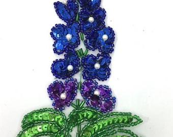 "Choice of Style, Bluebonnet Flower Applique, Sequin Beaded, Single Stalk 6"" x 2.5"" or Double Stalk, 6"" x 3""  -B171-1611-0124"