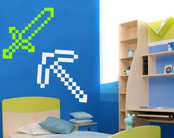 Large Minecraft Inspired Wall Decal, Large Minecraft Decal, Minecraft Sword Axe Pickaxe or Shovel