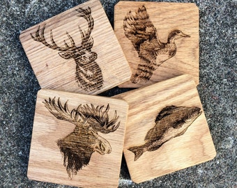 Wooden Hunting Cabin Coasters