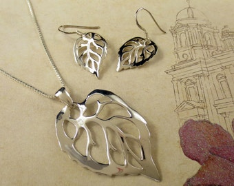 Sterling Silver Leaf Necklace/.925 Sterling Silver/Nature Jewelry/Botanical Jewelry/Long Leaf Necklace/Fall Necklace/Nature Necklace