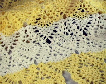 White and Yellow Infant/Baby Afghan, Handmade//Crocheted