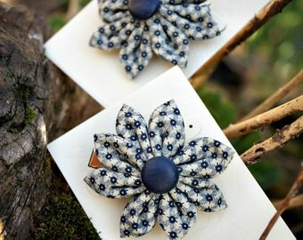 Vintage Blue Fabric Hair Flower