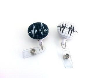 Badge Reel Nurse, ID Badge Holder, Nurse Gift, Black and White, Retractable Reel, ID Holder