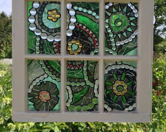 Green Stained Glass Window Mosaic - abstract Stained Glass Panel - green mosaic panel - Repurposed Window - recycled window green glass