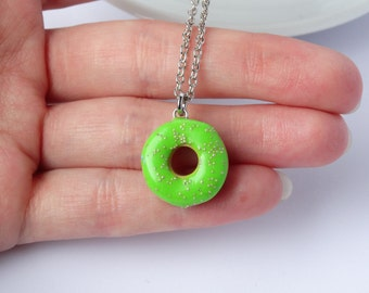 Miniature cute lime green icing donut with sprinkles charm necklace pendant kawaii sweet silly food jewelry