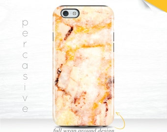 Yellow Marble iPhone 6s Case Orange iPhone 5s Case Edge Wrap Marble iPhone 6Plus Case Cool Marble iPhone 7 Cover iPhone SE Case  08g
