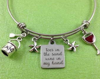 Beach Charm Bracelet, Wine Charm Bracelet, Beach Bangle, Toes in the Sand Wine in My Hand, Sand Pail Charm, Wine Glass Charm, Starfish Charm