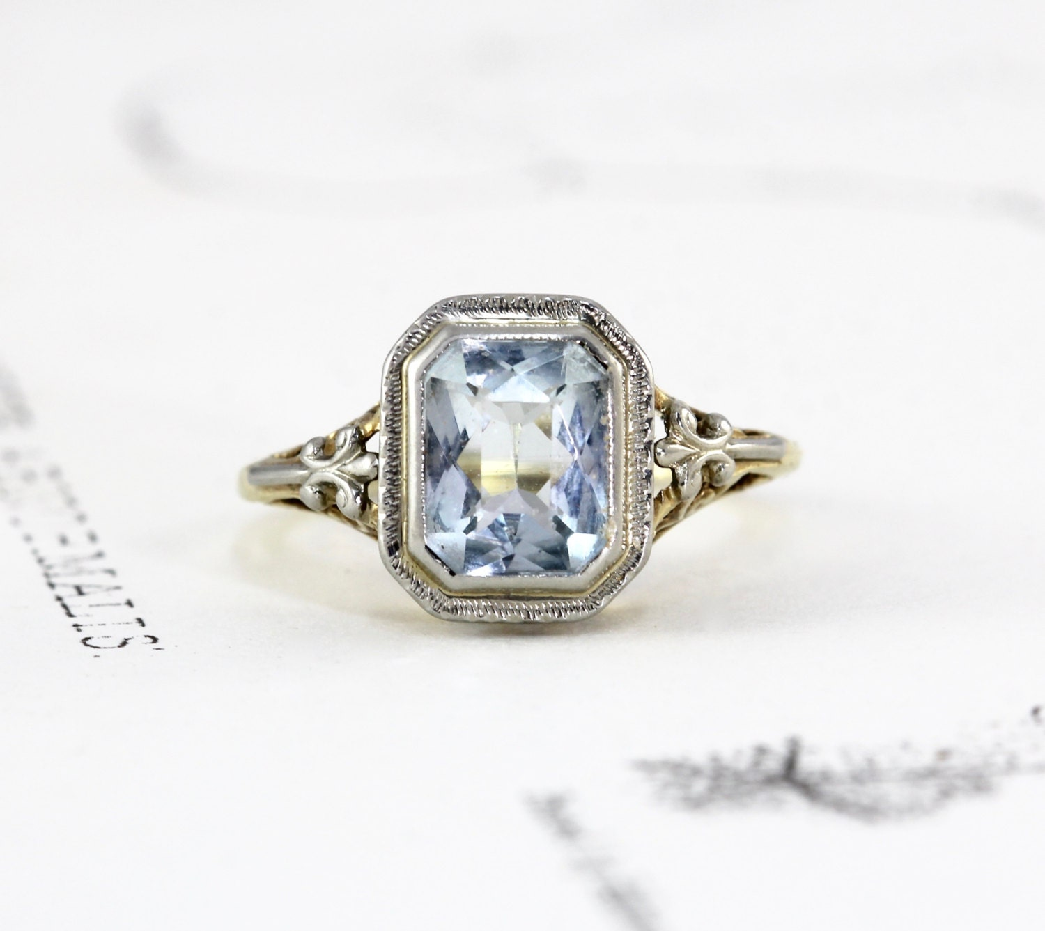 antique aquamarine ring 14k white yellow gold circa 1915