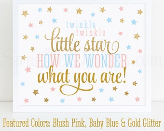 Twinkle Twinkle Little Star How We Wonder What You Are - Printable Twinkle Little Star Gender Reveal Sign, Gold Glitter Blush Pink Baby Blue