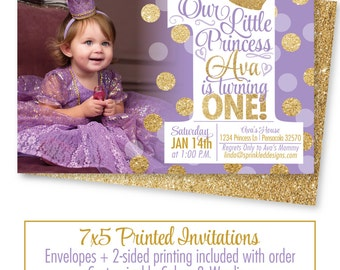 Etsy Your Place To Buy And Sell All Things Handmade - First birthday invitations girl purple