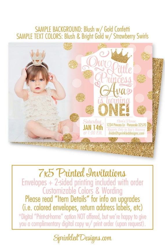 Princess birthday invitations blush pink gold glitter 1st birthday il570xn filmwisefo