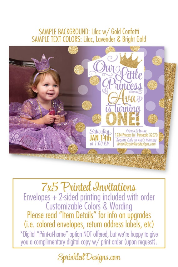 Princess First Birthday Girl Invitations Purple Gold Glitter - Digital first birthday invitation
