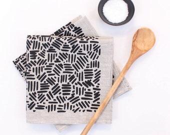 Natural Linen Cloth Napkin Set, Black Textured Wabi Sabi Design on Screen Printed Napkins, Simple Modern Home Decor, Housewarming Gift