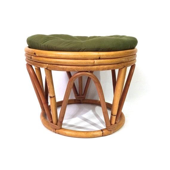 Vintage Round Rattan Ottoman Rattan Footstool Bentwood