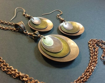 Pendant Necklace Set, Jewelry Set, Necklace and Earrings Set, Boho Jewelry, Hammered Metal Necklace, Mixed Metal Earrings