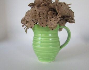 Vintage Lime Green Pitcher, Lime Green Vase, Chartreuse