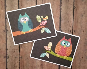 Owl Greeting Cards, Thinking of You Cards, Just Because Cards, Hello Cards, Colorful Owl Cards, Card Set, Cute Hello Cards, Set of 2